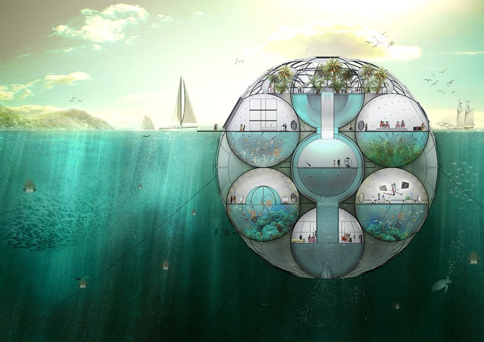 is this floating spherical home a glimpse of the future? - okeanos